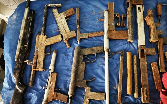 Guns and other weapons seized by Israeli security forces in the West Bank over the past month and a half, in a photograph shared by the military on January 21, 2020. (Israel Defense Forces)