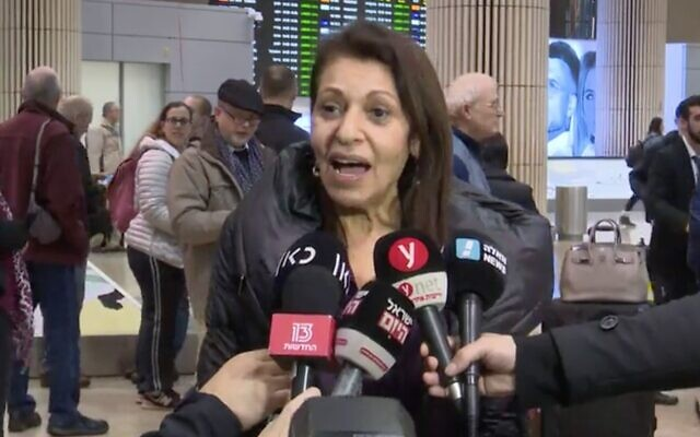 Screen capture from video of Yaffa Issachar, whose daughter Naama was jailed in Russia for tax offenses, seen arriving at Ben Gurion Airport, Israel, January 19, 2020. (Channel 12 news)