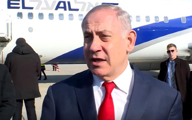Prime Minister Benjamin Netanyahu on the tarmac in Athens backs US assassination of Qassem Soleimani, January 3, 2020 (YouTube screenshot)