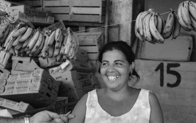 A girl and her bananas, from 'Emerging from the Shadows' exhibit at Beit Avi Chai, through June 2020 (Courtesy Sarah Ayal)