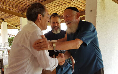 Benedito Araujo de Souza, right, arriving at Yeshiva Camp in Aquiraz, Brazil on January 2, 2020. (Synagoga Sem Froteiras)