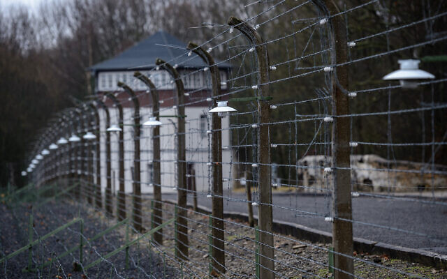 A view of the former Buchenwald concentration camp in Weimar, Germany, January 26, 2018. (Jens Schlueter/Getty Images via JTA)
