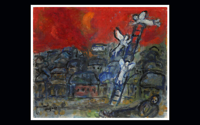 The winning bid on Marc Chagall's 'Jacob's Ladder' was the lowest suggested by the Israeli auction house. (Courtesy of Tiroche Auction House via JTA)