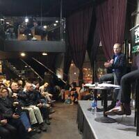 Live ToI/Tel Aviv Salon debate on January 26, 2020, under the banner of, 'Securing the Future of the US-Israel Relationship.' From left: J Street founder Jeremy Ben-Ami versus conservative think tank JCPA's Dan Diker. (Amanda Borschel-Dan/ToI)