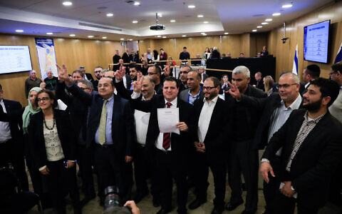 Joint List present their party slate to the Central Elections Committee in the Knesset, January 15, 2020. (Olivier Fitoussi/Flash90)