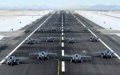 52 F-35 jets line up for a launch exercise at Utah's Hill Air Force Base in show of force and combat readiness amid US-Iran tensions, January 6, 2020. (US Air Force/R. Nial Bradshaw/Twitter screen capture)