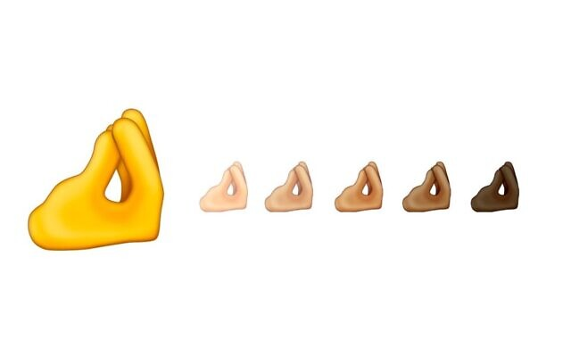 """The """"pinched fingers"""" emoji, as shared on social media by Emojipedia, January 29, 2020. (Twitter screen capture)"""