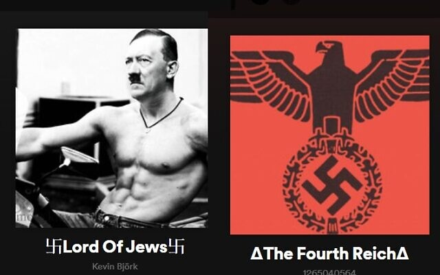 Images of user-generated far-right playlists on Spotify (screen capture: Spotify)