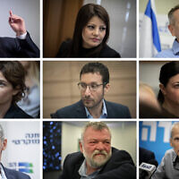 Members of the new Labor-Gesher, Meretz alliance, according to their placement on the slate (left to right, top to bottom): Labor head Amir Peretz, Gesher leader Orly Levy-Abekasis, Meretz chief Nitzan Horowitz, Meretz's Tamar Zandberg, Labor's Itzik Shmuli, Labor's Merav Michaeli, former IDF deputy chief of staff Yair Golan, Meretz's Ilan Gilon, Labor's Omer Barlev (Flash90)