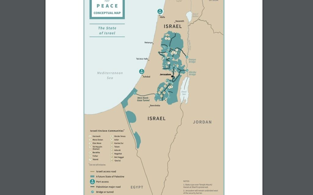 Trump S Conceptual Maps Show Israel Enclave Communities Future Palestine The Times Of Israel