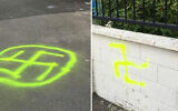 Swastikas outside the Temple Sinai synagogue in Wellington, New Zealand on January 22, 2020. (Wellington City Council via JTA)