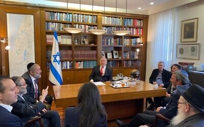 A meeting of the heads of the bloc of parties supporting Prime Minister Benjamin Netanyahu (C), January 14, 2020. (Courtesy)