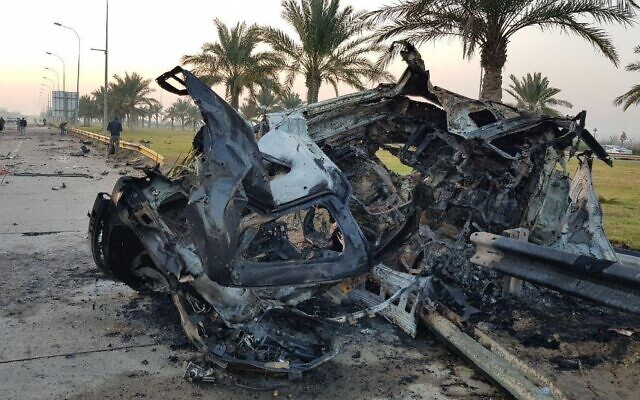 The wreckage of an American airstrike that killed Iranian general Qassem Soleimani in Baghdad on January 3, 2020. (Social media)