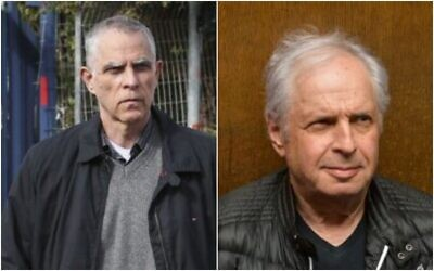 Left: Publisher and owner of the Yedioth Ahronoth newspaper Arnon 'Noni' Mozes arrives for questioning at the Lahav 433 investigation unit in Lod on January 15, 2017. (Koko/Flash90) Right: Shaul Elovitch arrives at the Tel Aviv Magistrate's Court for a remand hearing in Case 4000, February 26, 2018. (Flash90)