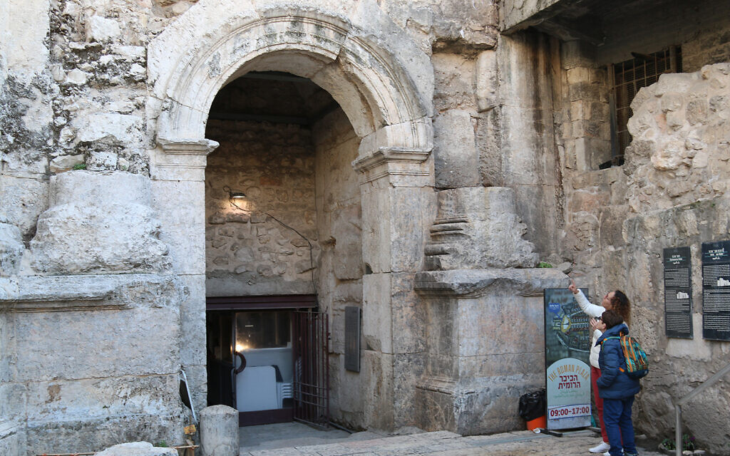 A Roman-era gate built by Hadrian Augustus in the second century which stands well below street level, to the left of the Ottoman-era Damascus Gate. (Shmuel Bar-Am)