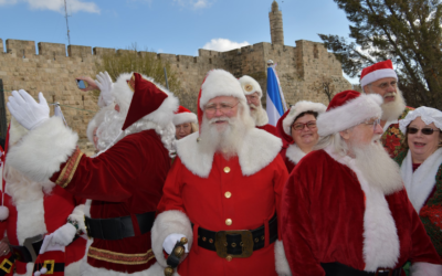 One of many Santas currently visiting Israel on a January 2020 Ministry of Tourism trip (Courtesy Israel Ministry of Tourism)