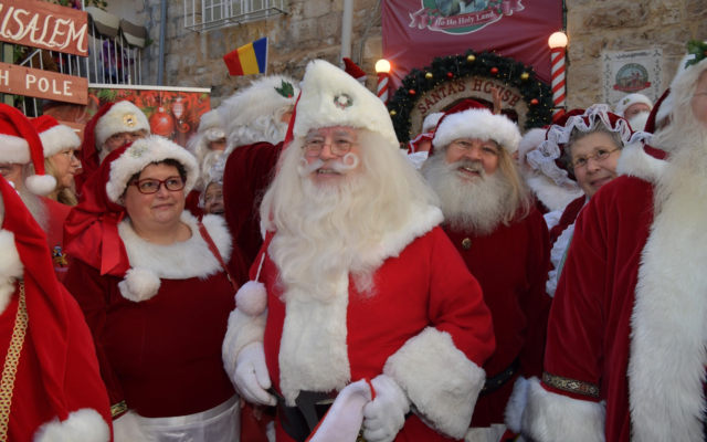 Visiting the Jerusalem Santa house on a January 2020 Ministry of Tourism trip (Courtesy Israel Ministry of Tourism)
