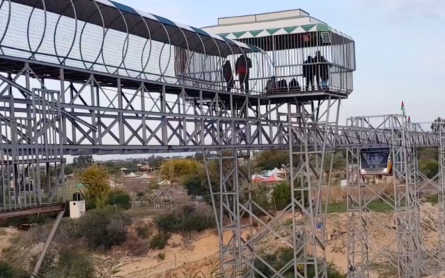 A train at an amusement park in the southern Gaza Strip that seeks to simulate a journey from the isolated coastal enclave to Jerusalem's Old City. (Screenshot: al-Mashad)