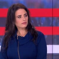 Yamina candidate Ayelet Shaked interviewed on Channel 13 on January 18, 2020. (Channel 13 screen capture)