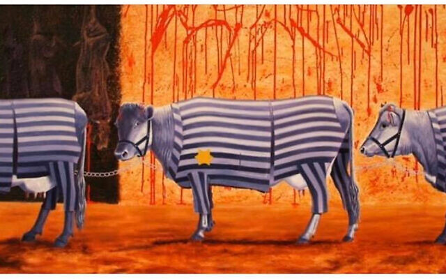A drawing of cows wearing concentration camp uniforms and a yellow star, meant to compare the meat industry to the Holocaust. (Sylwia Spurek/Jo Frederiks/via JTA)