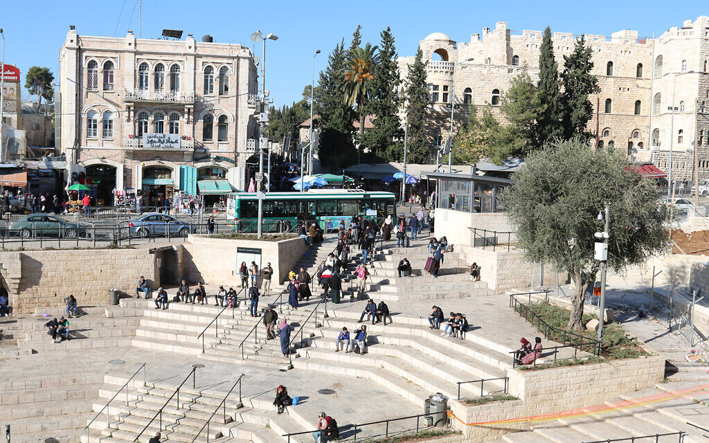 East Jerusalem in front of Damascus Gate seen from the Old City wall ramparts. (Shmuel Bar-Am)