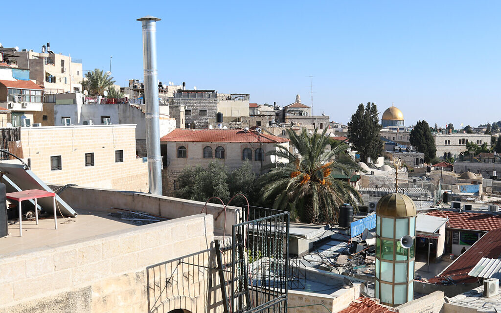 A view of the Old City's Muslim Quarter, with the Dome of the Rock in the background. (Shmuel Bar-Am)
