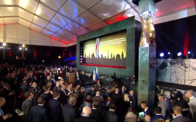 Dignitaries attend an inauguration ceremony for a new memorial for victims of World War II's siege of Leningrad (right) in Jerusalem (video screenshot)