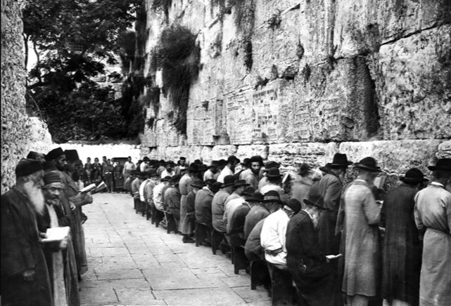 Photograph from the League of Nations of prayers at the Western or Wailing Wall in Jerusalem, 1929 (UK National Archives)