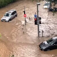 Flooding in southern Tel Aviv on January 4, 2020. (screen capture: YouTube / Almog Tsadok)
