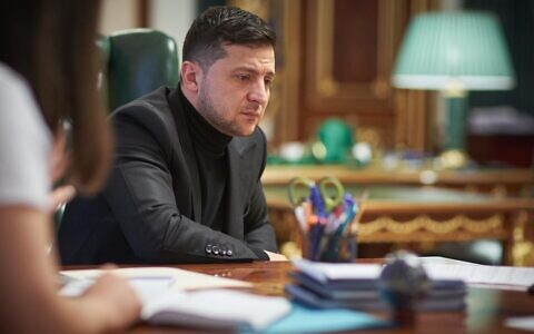 Ukraine President Volodymyr Zelensky, interviewed in his office in Kyiv, on January 18, 2020 (Press service of the Office of the President of Ukraine)
