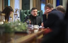 Ukraine President Volodymyr Zelensky, interviewed by The Times of Israel in his office in Kyiv, on January 18, 2020 (Press service of the Office of the President of Ukraine)
