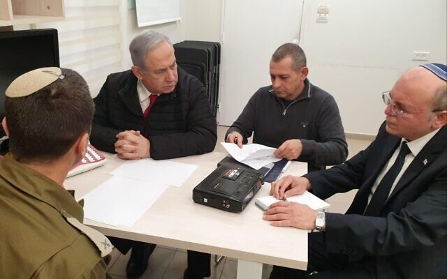 Illustrative: Prime Minister Benjamin Netanyahu, Shin Bet chief Nadav Argaman (2nd-R) and National Security Adviser Meir Ben-Shabbat hold consultations on fighting in the Gaza Strip at an unspecified security facility in central Israel, February 24, 2020. (Government Press Office)