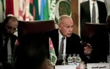 Arab League Secretary-General Ahmed Aboul Gheit speaks during an Arab League emergency meeting discussing the US-brokered proposal for a settlement of the Middle East conflict, at the league headquarters in the Egyptian capital Cairo on February 1, 2020. (Khaled DESOUKI / AFP)