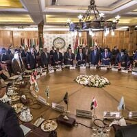 This picture taken on February 1, 2020 shows a view at an Arab League emergency meeting discussing the US-brokered proposal for a settlement of the Middle East conflict, at the league headquarters in the Egyptian capital Cairo, as delegates take to their seats (Khaled DESOUKI / AFP)