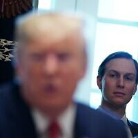 Jared Kushner listens to US President Donald Trump during in a cabinet meeting in the White House in Washington, DC, November 19, 2019. (MANDEL NGAN/AFP)