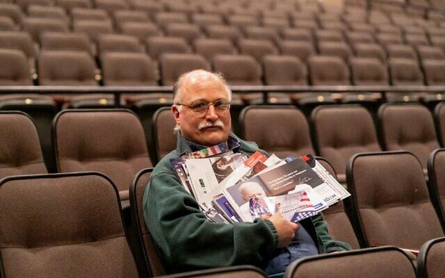 John Deeth, caucus organizer for the Johnson County democrats in Iowa City, Iowa, poses on January 2, 2020. (Kerem Yucel/AFP)