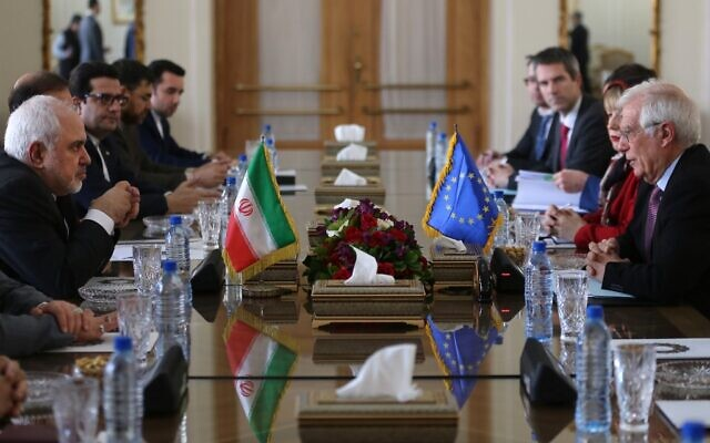 Iran's Foreign Minister Mohammad Javad Zarif (L) meets with European Union High Representative for Foreign Affairs and Security Policy Josep Borrell (R) in the capital Tehran on February 3, 2020. (Atta Kenare/AFP)