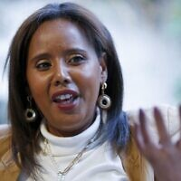 The first Israeli Jewish woman of Ethiopian origin to be elected to the Knesset, Pnina Tamano Shata, on February 4, 2020, in Hadera. (Photo by JACK GUEZ / AFP)