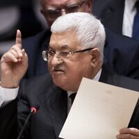 Palestinian Authority President Mahmoud Abbas speaks to the UN Security Council at the United Nations headquarters on February 11, 2020 in New York.  (Johannes EISELE / AFP)