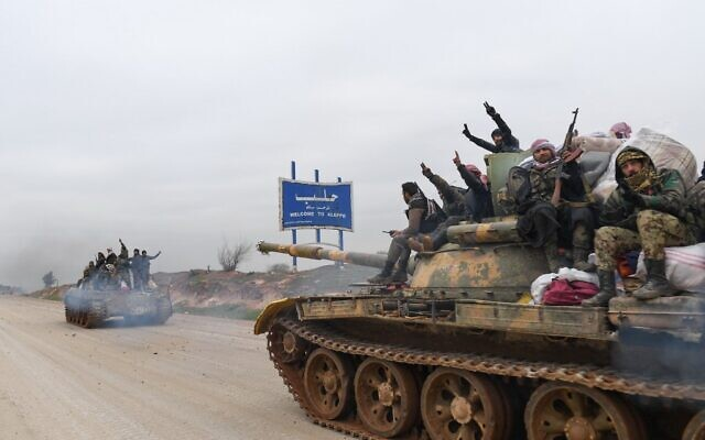 Syrian army troops advance towards the rebel-held areas of the northern Aleppo province on February 12, 2020. (AFP)