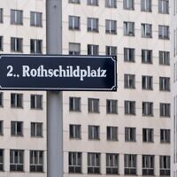A sign for Rothschild square, named after Salomon Mayer von Rothschild, is pictured in Vienna, Austria, February 18, 2020. (Joe Klamar/AFP)