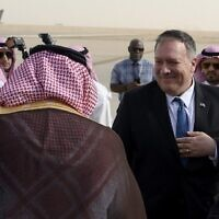 US Secretary of State Mike Pompeo arrives at the King Khalid International Airport in the Saudi capital Riyadh on February 19, 2020. (Andrew Caballero-Reynolds/Pool/AFP)