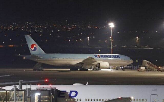 A Korean airplane which arrived from South Korea is pictured after landing at Ben Gurion International Airport on February 22, 2020. (Ahmad GHARABLI / AFP)