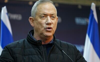 Leader of Israel's Blue and White electoral alliance Benny Gantz speaks during a press conference in the southern Israeli town of Sderot on the border with Gaza on February 24, 2020. (Jack GUEZ / AFP)