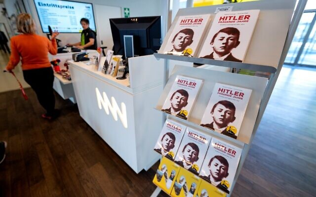 """Copies of the biography that forms part of the exhibition are displayed for sale as part of the exhibition titled """"The young Hitler, the formative years of a dictator"""" at the house of history in Sankt Poelten, Austria on February 27, 2020. (JOE KLAMAR / AFP)"""