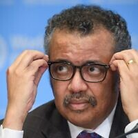 World Health Organization (WHO) Director-General Tedros Adhanom Ghebreyesus attends a daily press briefing on COVID-19, the novel coronavirus, at the WHO headquarters on February 28, 2020, in Geneva. (Fabrice Coffrini/AFP)