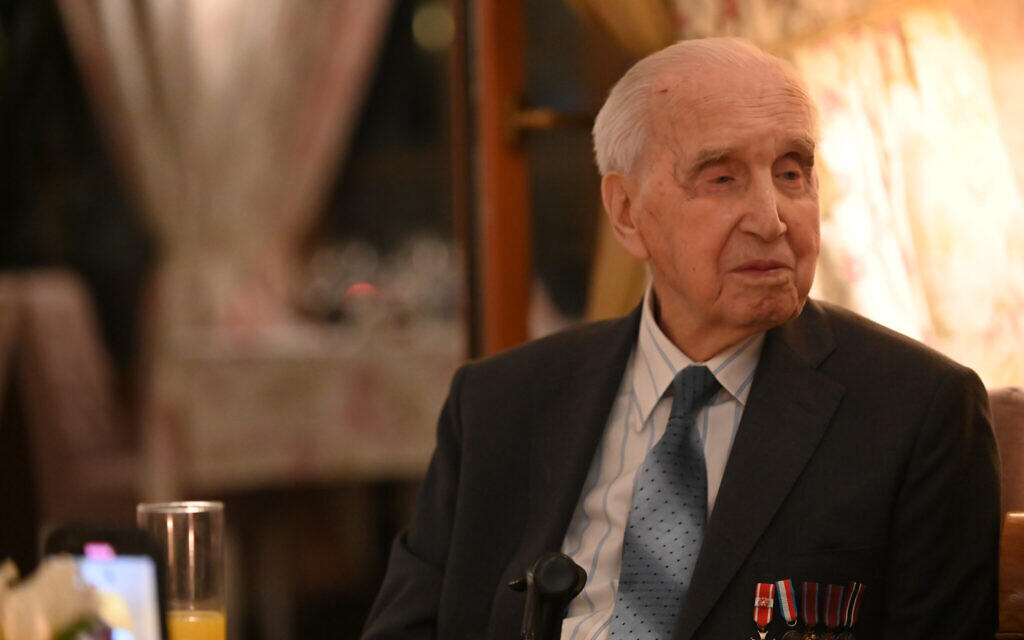 Jozef Walaszczyk, 100, saved more than 50 Jews during the Holocaust. He tells his story at a restaurant in Warsaw, January 28, 2020. (Cnaan Liphshiz/ JTA)