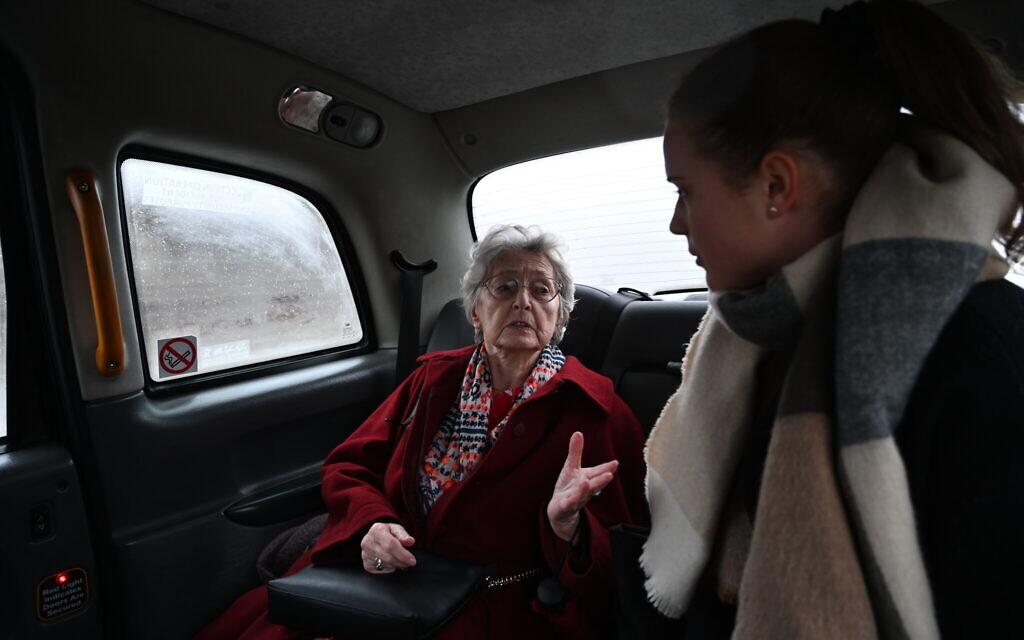 Anna Stupnicka-Bando in one of the Silent Hero taxis in Warsaw, January 29, 2020. (Cnaan Liphshiz/ JTA)