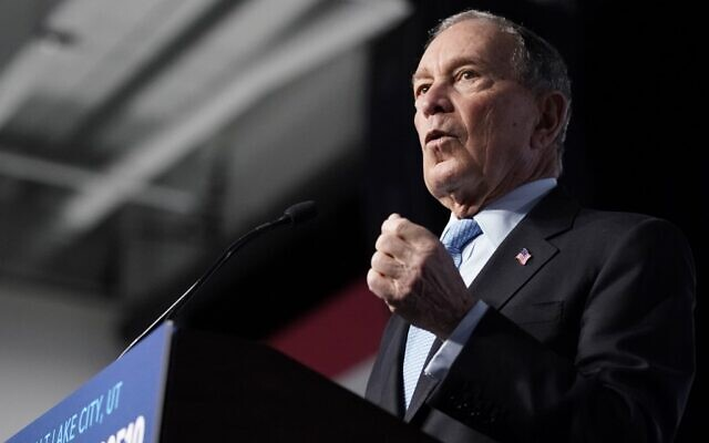 Democratic presidential candidate Mike Bloomberg speaks to supporters at a rally on February 20, 2020 in Salt Lake City, Utah. (George Frey/Getty Images/AFP)