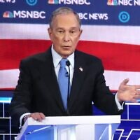 Democratic presidential candidate former New York City mayor Mike Bloomberg speaks during the Democratic presidential primary debate at Paris Las Vegas on February 19, 2020 in Las Vegas, Nevada. Six candidates qualified for the third Democratic presidential primary debate of 2020, which comes just days before the Nevada caucuses on February 22.(   Mario Tama/Getty Images/AFP)